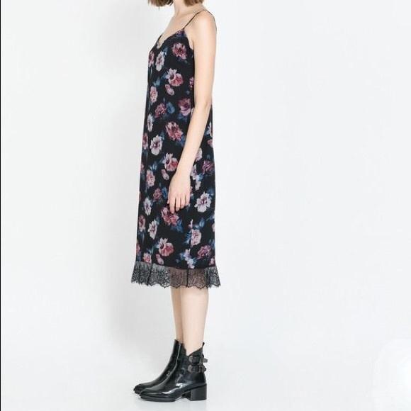 ac50a0c5e1c7 Zara Dresses | Trf Floral Lace Silk Slip Dress Size S | Poshmark